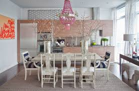 beautiful kitchen design with pink chandelier and table decoration