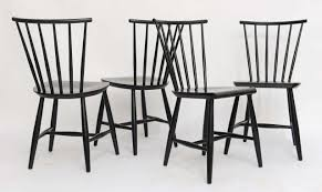 scandinavian modern four 1950s swedish windsor style spindle back dining chairs