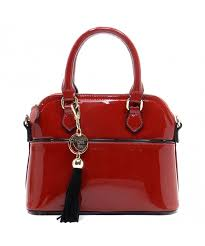 elphis patent leather satchel handbag