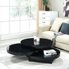 rotating coffee table round in black high gloss 1 swivel white