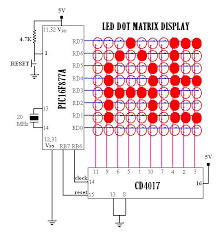 circuit diagram led moving message display images 4017 led led matrix circuit diagram zen