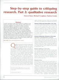 step by step guide to critiquing research part qualitative  step by step guide to critiquing research part 2 qualitative research pdf available