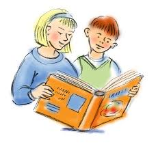 Image result for reading a book child and parent cartoon