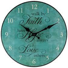 faith hope love wood wall clock