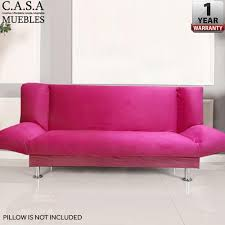 casa muebles foldable 3 seater sofa pink