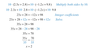 clearing decimals and fractions the coefficients of linear equations