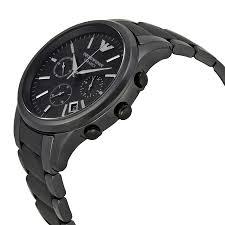 emporio armani ceramica chronograph black dial black ceramic mens emporio armani