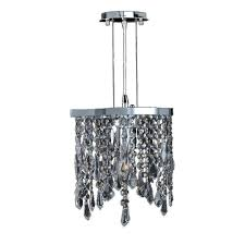 worldwide lighting fiona collection 1 light polished chrome and clear crystal pendant