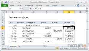 Excel Formula: Check Register Balance | Exceljet