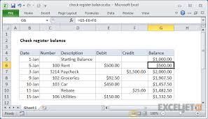 excel checkbook formula excel formula check register balance exceljet