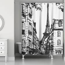 Unique Black And White Curtains Monochromatic Paris Shower Curtain In For Design Decorating