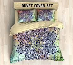 mandala bedding bohemian duvet cover set mehendi henna lace sacred balance lotus mandala duvet cover set