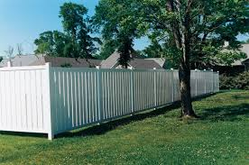 Vinyl privacy fence Foot Customwhitevinylsemiprivacy Frederick Fence Vinyl Fencing Installation Vinyl Fence Styles Frederick Fence