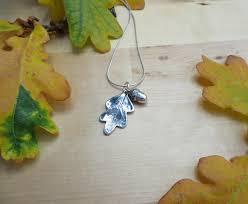 fine silver oak leaf and acorn necklace