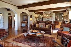 exposed timber style beams add extra dimension to this living room design ceiling a14 beams