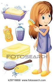 combing hair clipart. Fine Clipart Clip Art  Woman Combing Hair And Bathroom Set Fotosearch Search Clipart  Illustration Inside Combing Hair Clipart