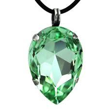 grevenkämper necklace swarovski crystal drop rubber cord green chrysolite