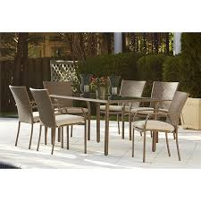 wicker patio furniture. Cosco Outdoor Furniture 7-Piece Lakewood Ranch Steel Woven Wicker Patio Dining Set With F
