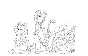 Anna Ariel Rapunzel Coloring Page