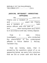 Judicial Affidavit Theft Arresting Officers 2 Arrest