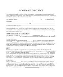 Sample Roommate Contract Sample Roommate Contract College And Agreement Funny Form Nppa Co