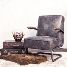 Vintage Sessel Highland Echtleder Esszimmer Wohnzimmer Lounge Chair Ledersessel