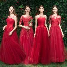 <b>Elegant Red</b> Bridesmaid Dresses 2019 A-Line / Princess Appliques ...