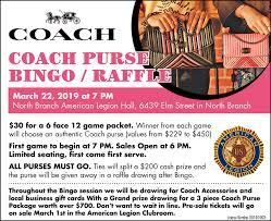 Coach Purse Bingo Raffle North Branch American Legion