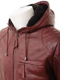 mens oxblood hooded leather jacket aller side
