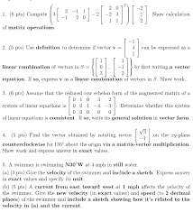 question 一1 1 6 pts compute 3 2 2 3 1 show calculation 2 of matrix operations 2 5 pts use definiti