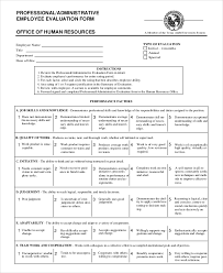 what does employees supervised mean employee evaluation form example 13 free word pdf documents