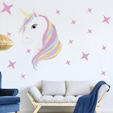 Magic Eenhoorn Muurstickers Kleurrijke Dieren Paard Sterren