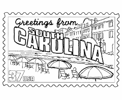 Small Picture USA Printables South Carolina State Stamp US States Coloring Pages