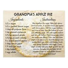 card recipe grandmas apple pie day recipe card