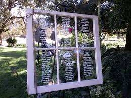 Seating Chart On Old Window Frame Escort Name Cards
