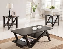 coffee table set in walnut wood zoom