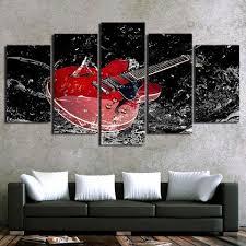 red guitar 5 piece canvas wall art on guitar canvas wall art red with red guitar 5 piece canvas wall art itdayshop