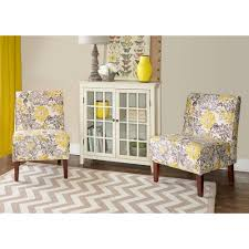 Home Decor Accent Furniture Linon Home Decor Lily Gray and Yellow Polyester Side Chair 27