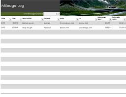 excel work log template mileage log office templates