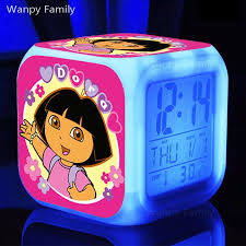 explorer dora alarm clock glowing led color change multifunction alarm clock