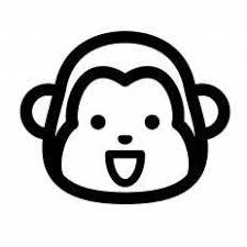 さる笑顔シルエット イラストの無料ダウンロードサイトシルエットac