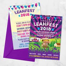 Festival Themed Birthday Party Invites Wedfest