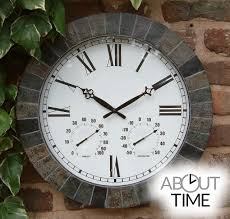 appealing outdoor clock and thermometer set of large slate effect garden with 45cm
