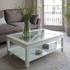 white glass rustic wood coffee table