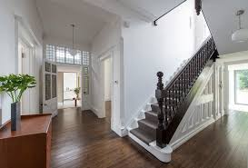 stair banister ideas staircase contemporary with wood railing midcentury pendant lights