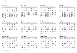 calendar 2017 horizontal paper sheet orientation image