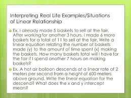 interpreting real life examples situations of linear relationship