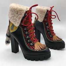 black leather lace up ankle boots with yellow stitching women fox fur crystal embellished platform snow boots high heeled pumps warm shoes boots wedge
