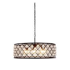 madison mocha brown eight light pendant with smooth clear crystals