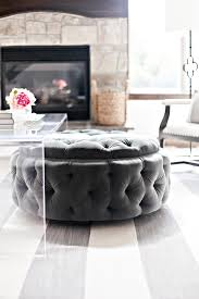 Coffee Table Ottoman Round Upholstered Tufted Ottoman Tucked Under Acrylic Coffee Table